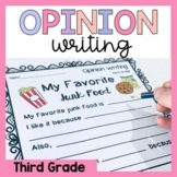 Third Grade Opinion Writing Prompts and Worksheets