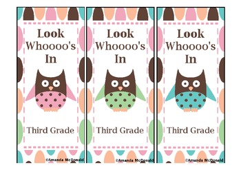Third Grade Owl Bookmark