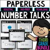 Third Grade PAPERLESS Number Talks- A YEARLONG BUNDLE