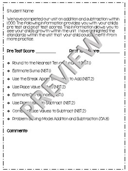 Third Grade Parent Letter Common Core Standards EDITABLE