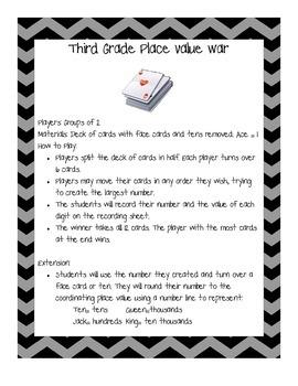 Third Grade Place Value War- New Math TEKS