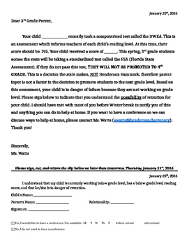 third grade possible retention letter by teacher s trunk tpt