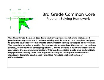 Third Grade Problem Solving Homework Bundle