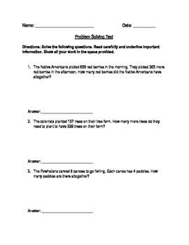 Third Grade Problem Solving Test