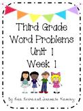 Third Grade Word Problems Week 1 Freebie