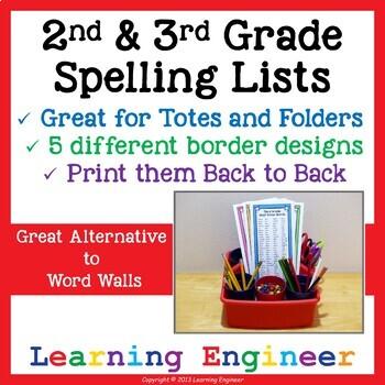 2nd Grade Spelling Lists, 3rd Grade Spelling Lists, 2nd Grade Writing Center