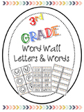 Third Grade Rainbow Chevron Word Wall Words