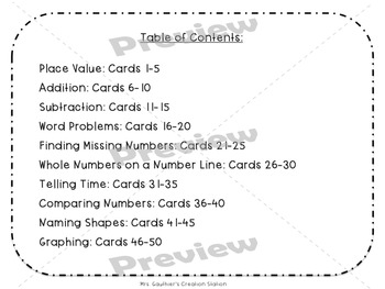 Third Grade Readiness Math Task Cards