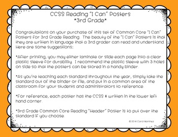 """Third Grade Reading CCSS """"I Can"""" Posters {Owl Theme}"""