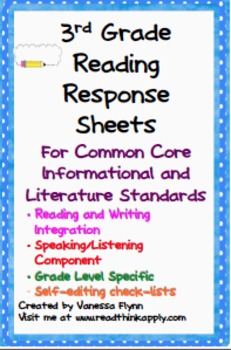 Third Grade Reading Common Core Reading Response Sheets