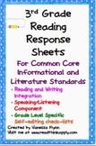 Third Grade Reading Common Core Reading Response Sheets