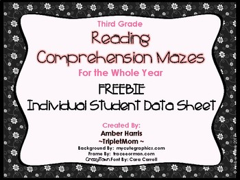Third Grade Reading Comprehension Mazes Individual Student Data Sheet Freebie