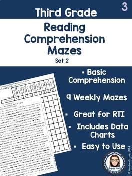 Third Grade Reading Comprehension Mazes Set 2