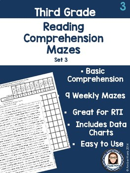 Third Grade Reading Comprehension Mazes Set 3