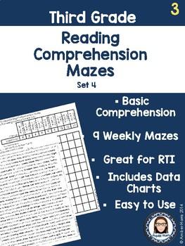 Third Grade Reading Comprehension Mazes Set 4