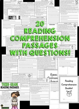 Third Grade Reading Comprehension Passages and Questions (BUNDLE)