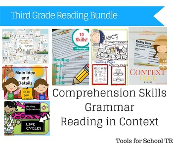 Third Grade Reading Comprehension and Grammar Bundle