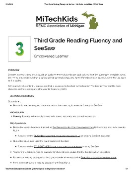 Third Grade Reading Fluency and SeeSaw