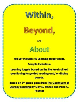 Third Grade Reading Learning Target Cards for Guided Reading Or Display