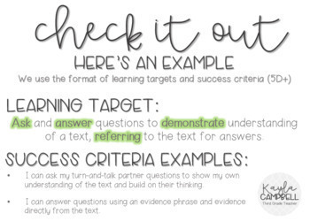 Third Grade Reading Learning Targets