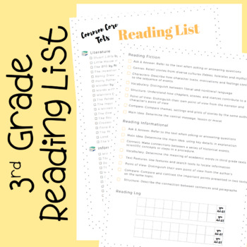 Third Grade Reading List (with Common Core Checklist)