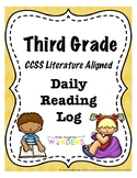 Third Grade Reading Log (CCSS Literature Aligned)