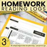 Homework Reading Log | Reading Log | Nightly Reading Homew
