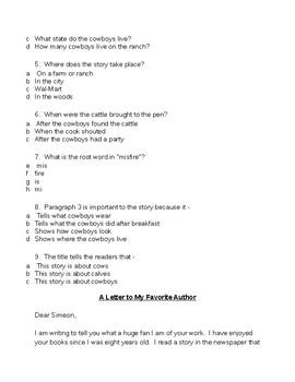 Third Grade Reading Passage for SOL Test Prep