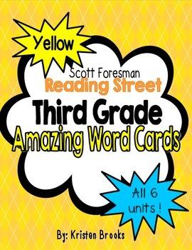 Reading Street Third Grade Amazing Word Cards (Yellow)