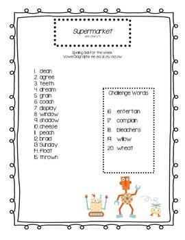 Third Grade Reading Street Spelling Lists
