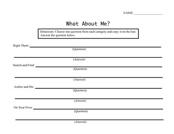 """Third Grade Reading Street® Unit 1 Week 2 Questions - """"What About Me?"""""""