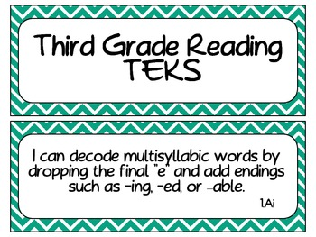 Third Grade Reading TEKS ~ Teal Chevron