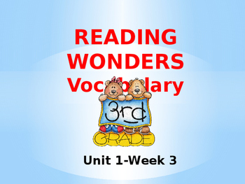 Third Grade Reading Wonders Unit 1-Week 3 Vocabulary PowerPoint