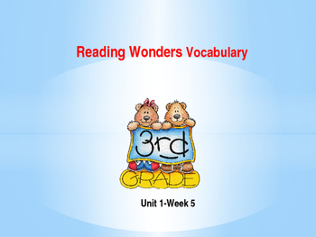Third Grade Reading Wonders Unit 1-Week 5 Vocabulary PowerPoint