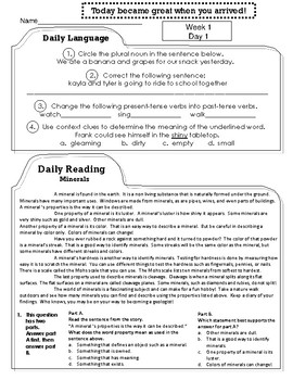 Third Grade Reading and Language Arts ELA Morning Work, Homework, Spiral Review