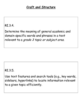 Third Grade Reading for Information Common Core Standards
