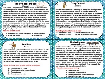 Third Grade Recount Stories Fables Folktales and Myths Task Cards