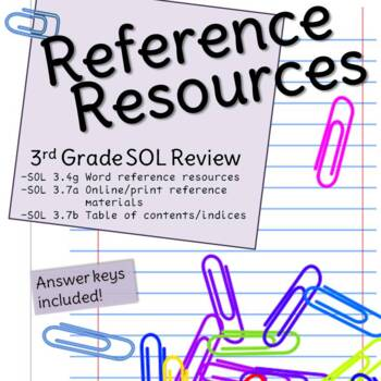 Third Grade Reference Resources SOL Review