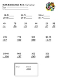 Third Grade Regrouping Subtraction Test with FREE Answer Key