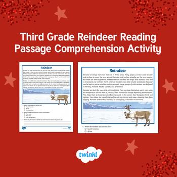 Third Grade Reindeer Reading Passage Comprehension Activity