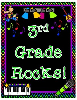 Third Grade Rocks Back to School Pair and Share Rock Star Themed Poster Activity