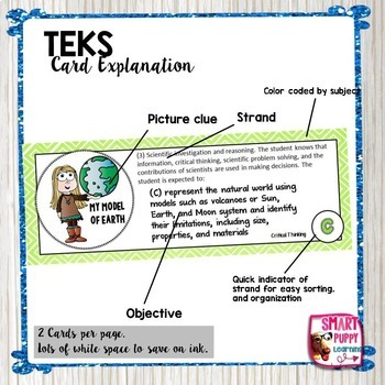 Third Grade SCIENCE TEKS - Illustrated and Organized Objectives Cards