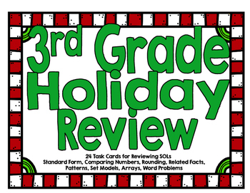 Third Grade SOL Holiday Review Task Cards