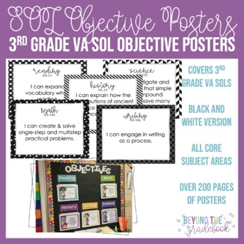Third Grade SOL Objective Posters   Black & White