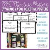 Third Grade SOL Objective Posters | Black & White