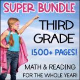 Third Grade Math & Reading YEAR LONG BUNDLE 1500+ Pages