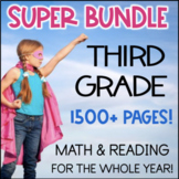Third Grade YEAR LONG BUNDLE 1200+ Pages!! Math & Reading