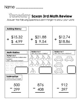 Third Grade Saxon Math Weekly Review Worksheets by Little ...