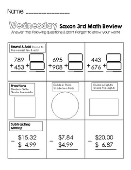 Third Grade Saxon Math Weekly Review Worksheets