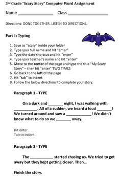 Third Grade Scary Story Halloween Essay Assignment - Microsoft Word